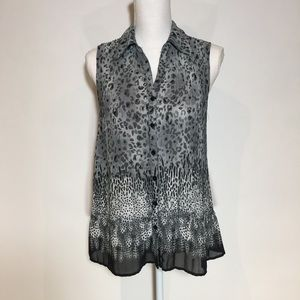 "Leopard print top gray sleeveless size ""S"""